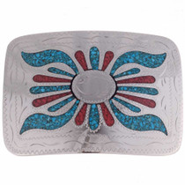 Inlaid Turquoise Coral Belt Buckle 23386
