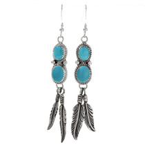 Turquoise Silver Feather Dangle Earrings