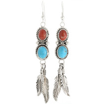 Navajo Turquoise Coral Feather Earrings 29460
