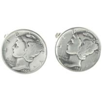 Antique Dime Silver Cuff Links 19619