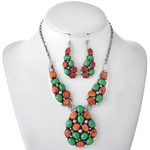 Spiny Oyster Gaspeite Navajo Necklace Set 29620