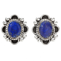 Navajo Lapis Silver Post Earrings Drops