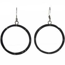 Jet Black Hoop Earrings