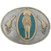 Gold Turquoise Silver Belt Buckle 27447
