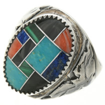 Inlaid Turquoise Silver Mens Ring 28465