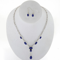 Lapis Silver Y Necklace Set 27702