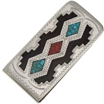 Turquoise Coral Silver Money Clip 21040