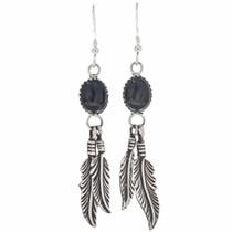 Black Onyx Silver Navajo Earrings