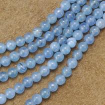 6mm Blue Quartz Glass Beads 16 inch Strand
