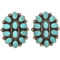 Turquoise Cluster Silver Post Earrings