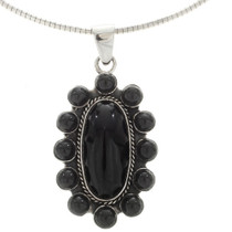 Black Onyx Silver Cluster Pendant 2023