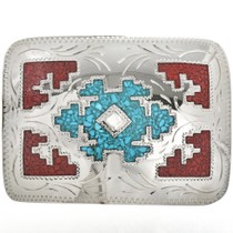 Inlay Turquoise Belt Buckle 6068