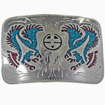 Turquoise Coral Eagle Belt Buckle 24075
