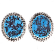 Turquoise Nugget Silver Stud Earrings 28450