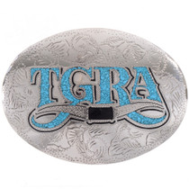 Inlaid Silver Turquoise Initials Belt Buckle 28328