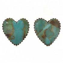Turquoise Heart Silver Stud Earrings 29775