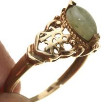 Vintage Gold Jade Ring Earrings 29791