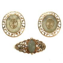 Vintage 10K Gold Jade Earrings Ring Set 29791