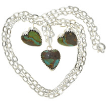 Turquoise Silver Heart Pendant Earring Set 29815