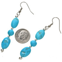 Natural Kingman Turquoise Silver Earrings Navajo French Hook Dangles