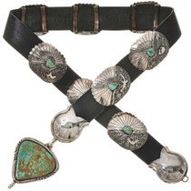 Old Pawn Turquoise Silver Concho Belt 29856