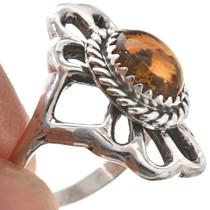 Citrine Ladies Silver Navajo Ring 29869