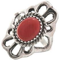 Red Coral Silver Navajo Ladies Ring Old Pawn Sandcast 29870