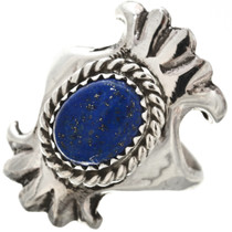 Blue Lapis Sterling Native American Ring Ladies Old Pawn Sandcast 29873