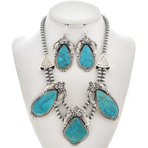 Kings Manassa Turquoise Navajo Necklace Set with French Hook Earrings 0012