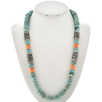 Turquoise Silver Beaded Necklace 29935