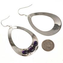 Amethyst Silver Earrings Navajo Made 29994
