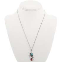 Turquoise Coral Silver Pendant With Chain 29996