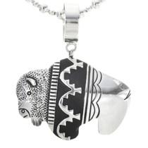 Silver Buffalo Pendant on Bead Necklace 30034