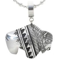 Navajo Sterling Silver Buffalo Pendant 30036