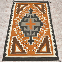 Vintage Navajo Two Grey Hills Wool Rug 30093