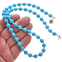 Turquoise Silver Beaded Necklace 30114