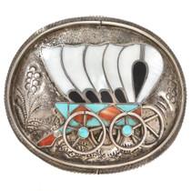 Old Pawn Zuni Wagon Belt Buckle 30119