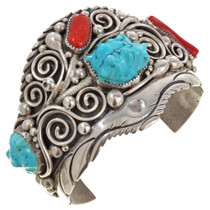 Old Pawn Turquoise Coral Silver Navajo Cuff Bracelet 30120