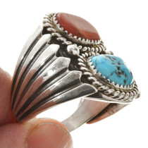 Navajo Turquoise Coral Big Boy Ring 30124