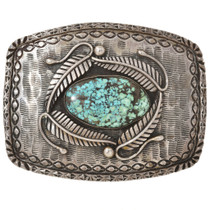 Old Pawn Spiderweb Turquoise Silver Belt Buckle 30136
