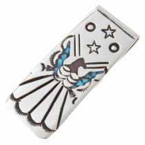 Peyote Bird Silver Turquoise Money Clip 22837