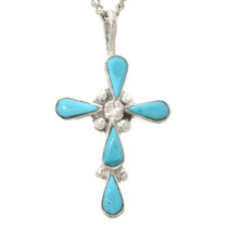 Genuine Turquoise Silver Cross Pendant 31074