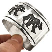 Overlaid Bear Design Solid Silver Cuff Bracelet 30176