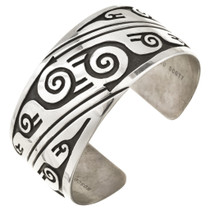 Solid Sterling Silver Navajo Cuff Bracelet 30179