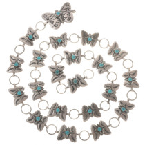 Vintage Sterling Silver Butterfly Turquoise Concho Belt 30221