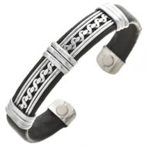 Silver Leather Bracelet 30251