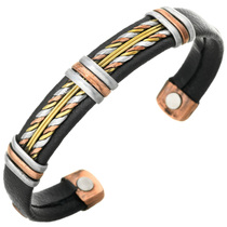 Copper Silver Leather Magnetic Bracelet 30253