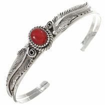Red Coral Sterling Silver Ladies Bracelet 30291