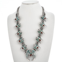 Old Pawn Turquoise Squash Blossom Necklace 30296