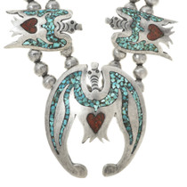 Vintage Turquoise Chip Inlay Peyote Bird Necklace 30296